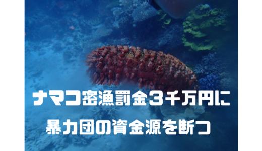 【ナマコ密漁】罰金を3千万円に引き上げ‼︎暴力団の資金源を断つ⁉︎