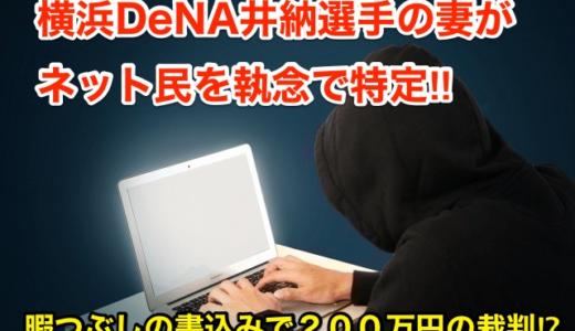 【横浜DeNA井納選手の妻がネット民を執念で特定】暇つぶしの書込みで200万円の裁判⁉︎